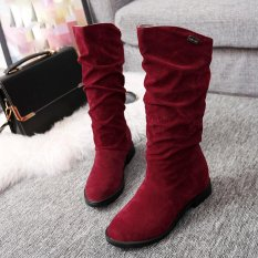 Musim Gugur Musim Dingin Boots Wanita Manis Boot Datar Bergaya Flock Sepatu Bot Salju