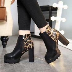 Musim Gugur Musim Dingin British Wind Leopard High Heels Waterproof Pendek Boots Round Head Plus Velvet Martin Boots Sepatu Fashion-Internasional