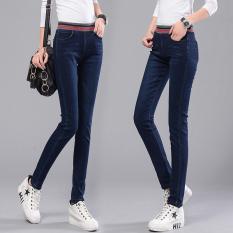 Beli Musim Gugur Musim Dingin Elastis Tinggi Pinggang Wanita Denim Jeans Stretch Slim Fit Pensil Celana Celana Panjang Biru Tua Intl Terbaru