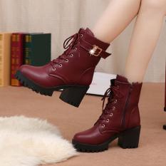Toko Musim Gugur Musim Dingin Wanita Pendek Boots Padat Slip Ritsleting Sisi Bertumit Tinggi Martin Ankle Boots Sepatu Online Terpercaya