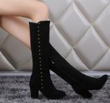 Spesifikasi Musim Gugur Musim Dingin Panjang Knight Boots Wanita Round Nubuck Leather Boots Tebal High Heels Plus Ukuran Paku Keling Single Boots Sepatu Intl Merk Oem