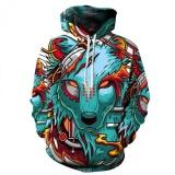 Situs Review Musim Gugur Musim Dingin Baru Fashion Thin Cap Sweatshirts 3D Print Wolf Pria Wanita Berkerudung Hoodies Casual Hoody Tops Intl