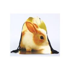 AXY Hot Hot 3D Digital Printing Tandan Rabbit Picture Drawstring Backpack 2017 Daftar Baru-Intl