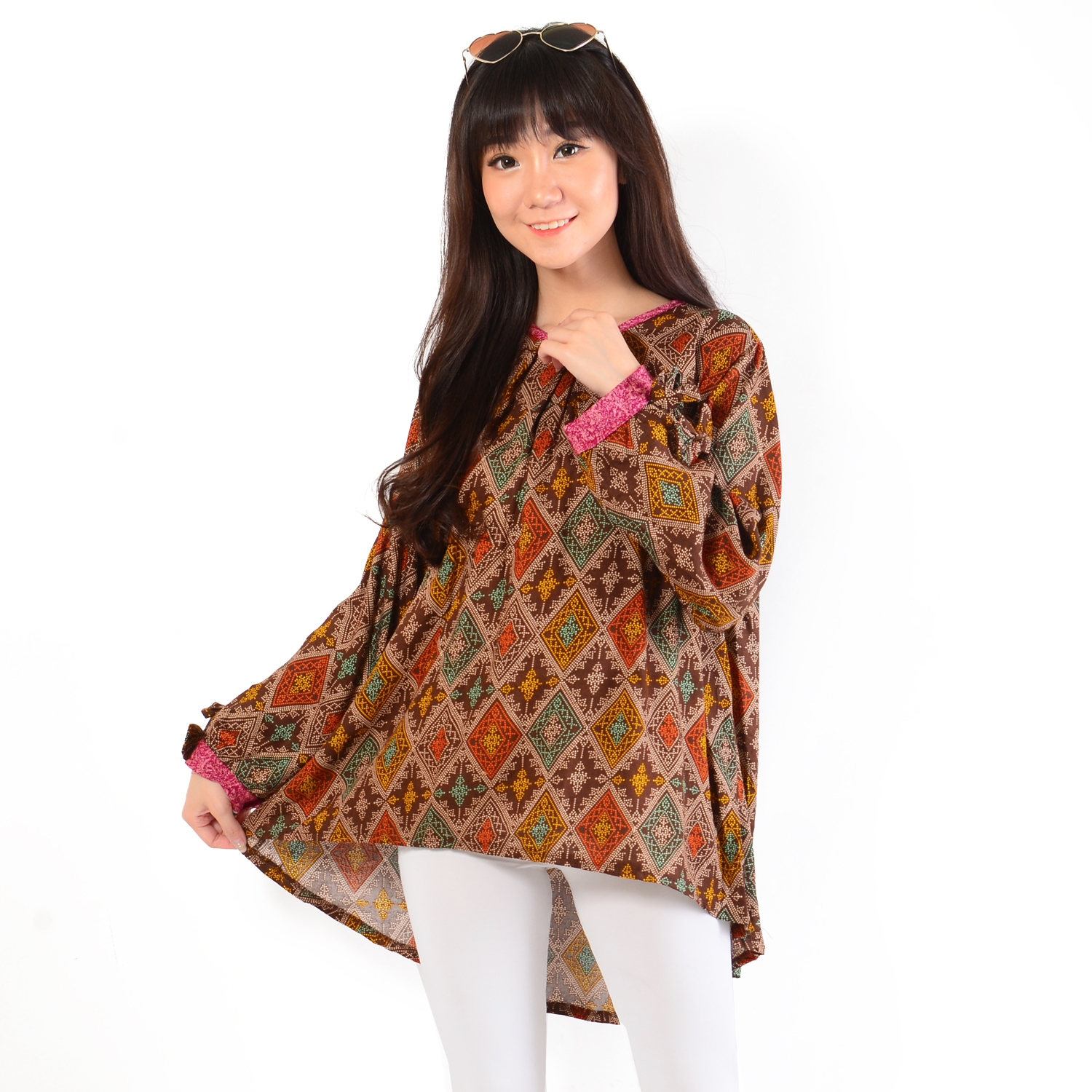 Model Lengan Panjang Ayako Fashion Blouse Lydia Batik Grafis 279 - (Brown)