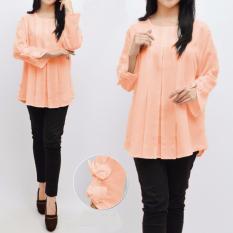 Diskon Ayako Fashion Dress Long Sleeve 8123 Peach Branded
