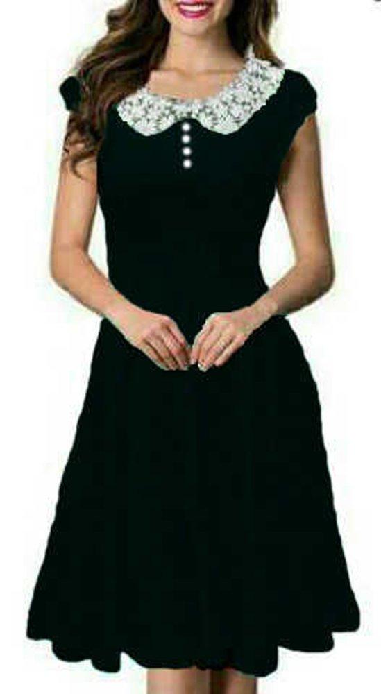 Jahitan rapi Ayako Fashion Dress Midi Caca - REI (Hitam)