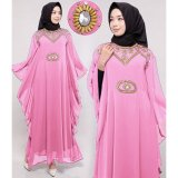 Ayako Fashion Dress Muslim Maxi Kaftan Syahrini 2017 Pink Terbaru