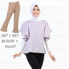 Ayako Fashion Get 1 Set Blouse Rumbai Abu & Celana Kulot Coklat