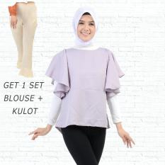 Ayako Fashion Get 1 Set Blouse Rumbai Abu & Celana Kulot Cream