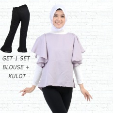 Ayako Fashion Get 1 Set Blouse Rumbai Abu & Celana Kulot Hitam