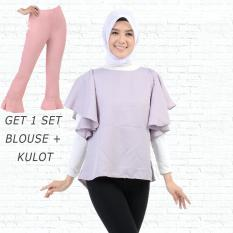 Ayako Fashion Get 1 Set Blouse Rumbai Abu & Celana Kulot Pink