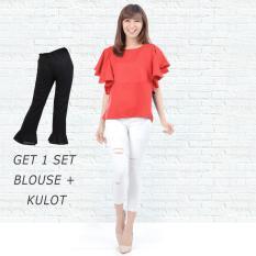 Ayako Fashion Get 1 Set Blouse Rumbai Merah & Celana Kulot Hitam