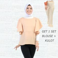 Ayako Fashion Get 1 Set Blouse Rumbai Coklat & Celana Kulot Cream