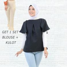 Ayako Fashion Get 1 Set Blouse Rumbai Hitam & Celana Kulot Cream