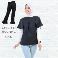 Ayako Fashion Get 1 Set Blouse Rumbai Hitam & Celana Kulot Hitam
