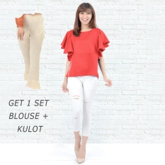 Ayako Fashion Get 1 Set Blouse Rumbai Merah & Celana Kulot Cream