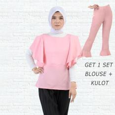 Ayako Fashion Get 1 Set Blouse Rumbai Pink & Celana Kulot Pink
