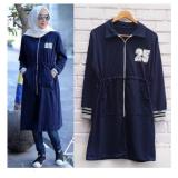 Diskon Azam Clobber Long Jacket Wanita Baby Terry Navy Branded