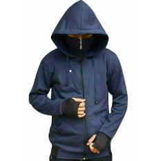Toko Azam Clobber Sweater Pria Hodie Sweater Ninja Finger Polos Navy Fleece Tebal Terlengkap Di Jawa Barat