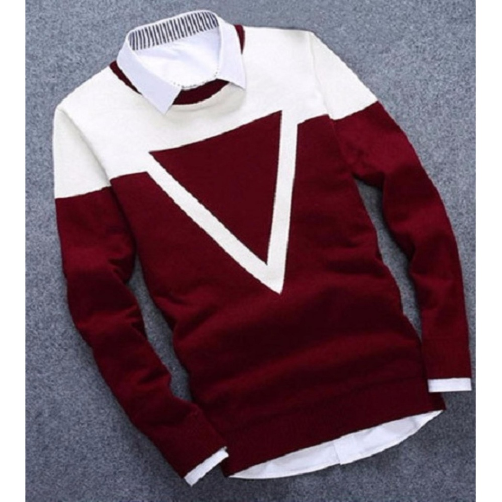 Desain Simple Azam Clobber - Sweater Pria Rajut - Triangel Maroon Sweater - Rajut Tribal