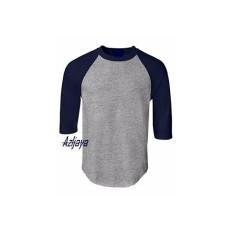 Azljaya-Kaos Polos Raglan Catton Combet 3/4 Abu Misty-Blue Navy