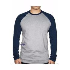 Azljaya-Kaos Polos Raglan Panjang Abu Misty-Blue Navy