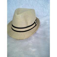 Azljaya-Topi Fedora Panama Dewasa Pria Dan Wanita Coklat Muda