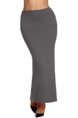 Azone ACEVOG Wanita Kasual Elastis Pinggang Panjang Maxi Solid Lurus Seksi Rok (Dark Grey)
