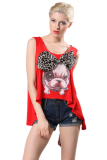 Azone Animal Print Tank Top Wanita Musim Panas Fashion Wanita Backless T Shirt Merah Oem Murah Di Tiongkok