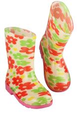 Merek Azone Anak-anak Anak Gadis Bunga Karet Rain Boots Tahan Air Salju Sepatu-Intl