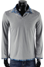 Azone Mens Casual Slim Fit Lengan Panjang Polo Shirt T-shirt Periksa Collar 3 Warna 3 Ukuran (Abu-abu Muda)