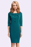 Harga Azone Ol Pakaian Kerja Kantor Wanita Gaun Tiga Perempat Lengan Ramping Pas Bodycon Dress Pensil Hijau Baru