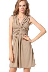 Spesifikasi Azone Wanita Berlipat Ramping Gaun Mini Sederhana Coklat Intl Intl Bagus