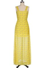 Azone Womens Ladies Sleeveless Printing Sifon Kasual Long Dress (Kuning)
