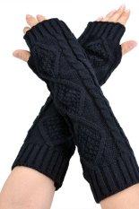 AZONE Wanita Panjang Sarung Tangan Rajutan Setengah Warmer Glove untuk Wanita (Hitam)-Intl