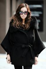 Azone Wanita Ganda Mewah Breasted Mantel Tanpa Lengan Sayap Kelelawar Ponco Mantel Jaket Kerah Bulu Bertudung
