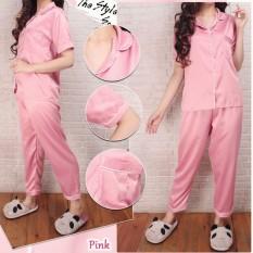 Azure Fashion Basic Satin Seriess  Piyama Pajamas SATIN Sleepwear Baju Pendek Celana Panjang Satin Silky Velvet