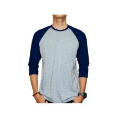 Azzalea Jaya Shop-T-Shirt Kaos Reglan Lengan 3/4 Abu Lengan Biru Dongker