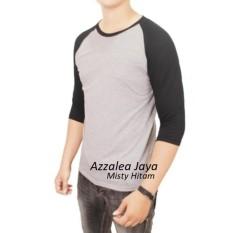 Azzalea JayaT-Shirt - Kaos Reglan Lengan 3/4 Abu kombinasi Hitam