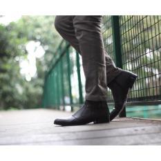 B A E WEAH Sepatu Pantofel Resleting / Sepatu Kulit Asli Pria Pantofel / CEVANY FOX ( HITAM )