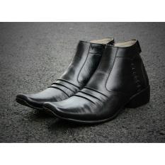 B A E WEAH Sepatu Pantofel Resleting / Sepatu Kulit Asli Pria Pantofel / CEVANY JIZO ( HITAM )