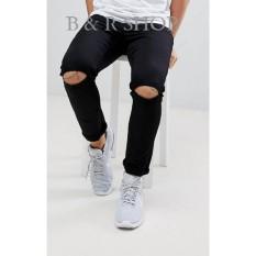 B & R SHOP - Celana Jeans Lois Pria Sobek Ripped Strecth Model Skinny Warna Hitam