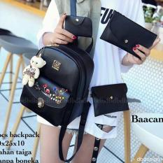 Tas BACKPACK/Ransel/TAS MINI BACKPACK/Tas Anak/Tas 3in1/Tas 4in1/TAS CROS BODY/TAS Drawstring backpack/Tas Messenger/Tas Chanel/Tas Dior/Tas FendI/Tas Louis Vuitton/Tas Prada/Tas Gucci/Tas murah BAACAN 4PCS BACKPACK BLACK