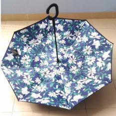 Dapatkan Segera Babamu Payung Terbalik 2 Lapis Gagang C Reverse Umbrella Tombol Merah Bunga Bunga Putih