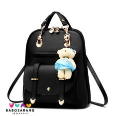 Spesifikasi Korean Fashion Style Babosarang Tas Ransel Batam Wanita Backpack Multifungsi Cewek Fashion Korea Gantungan Boneka Beruang Mini Hitam Terbaik