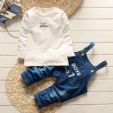 Baby Boy Pakaian Baru Musim Gugur Bayi Pakaian Set Lengan Panjang T-shirt + Overall Denim 2 Pcs untuk Anak-anak Pakaian Majalah Gaya-putih-Intl