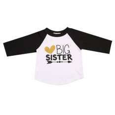 Beli Baby Boy G*rl Lengan Panjang T Shirt Kids Letter Big Sister Katun Tee Atasan Unisex Bayi O Neck Summer Kasual Pakaian Intl
