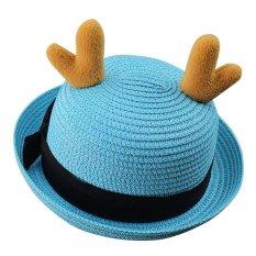 Baby Bucket Hat Lovely Reindeer Horn Sun Cap untuk Boys & Girls-Biru-Intl
