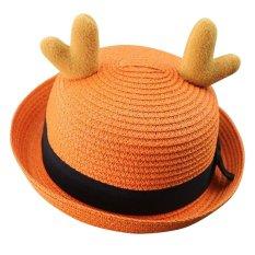 Baby Bucket Hat Lovely Reindeer Horn Sun Cap untuk Anak Laki-laki & Girls-Orange-Intl