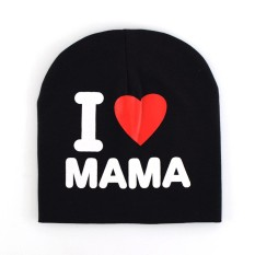 Baby Creative I Love Papa Mama Pattern Beanie Hat Breathable Cute Cap for Winter Autumn Models:Black i love mama - intl